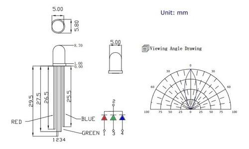led rgb 5mm x 50 unidades - cátodo común 4 patas alto brillo