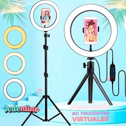 led ring aro luz celular foto maquillaje 2 tripodes regalo