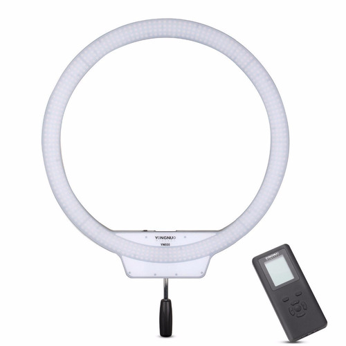 led ring light yongnuo yn608 + fonte + tripé + cabeça