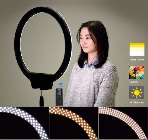 led ring light yongnuo yn608 + fonte + tripé + reclinável