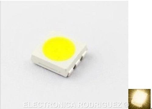 led smd 5050 color blanco calido 3.4 volts paquete 10 piezas