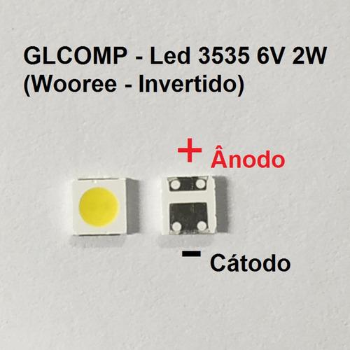 led smd tv 3535 6v 2w wooree invertido sharp 200 pçs - carta