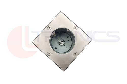 led solo parede escada inox round base redonda 103x103mm