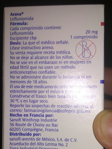 leflunomida depatente arava de 20 mg