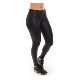 Legging Cirre Plus Size Suplex Cós Alto Fitness Imita Couro