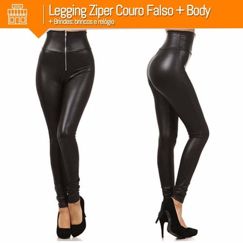 legging cirré ziper frontal couro falso + body + brindes