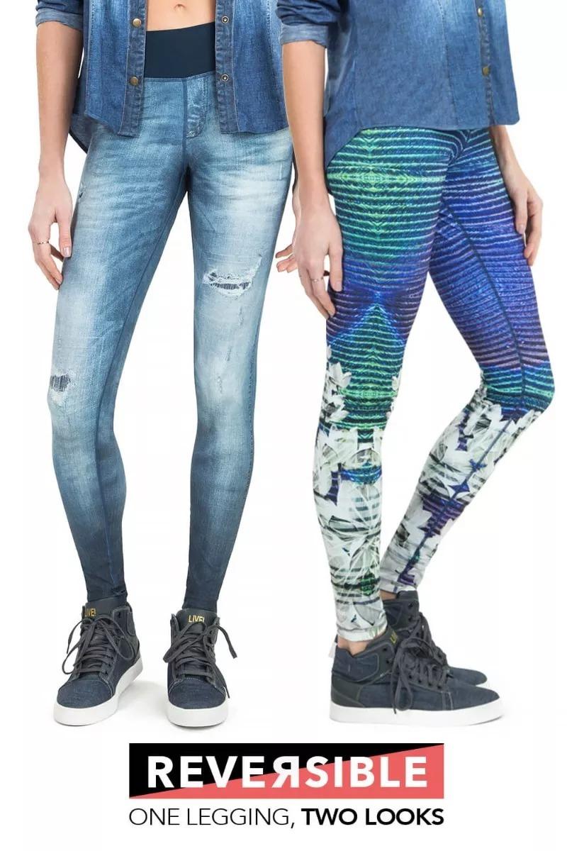 ecacb6fe3418c legging fuso jeans live liveliness! reversible ref  41894. Carregando zoom.