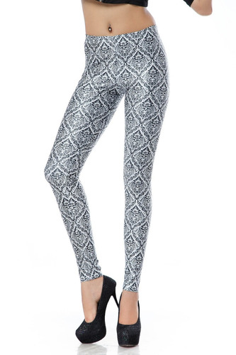 legging importada - estampa black milk - wallpaper white