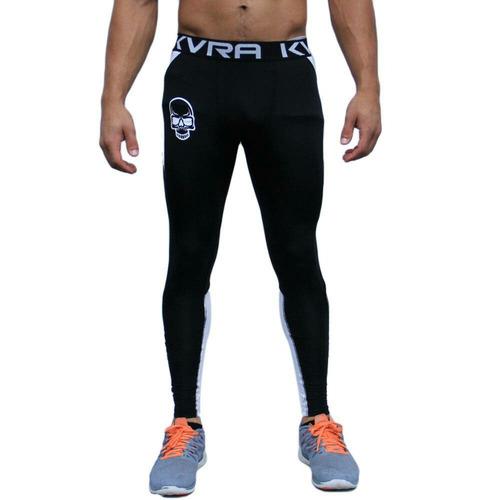 legging masculina kvra flight preto/branco fitness crossfit