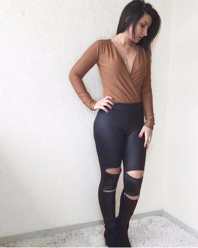legging montaria couro cintura alta ziper