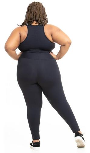 legging plus size joana dark casual poliamida preta