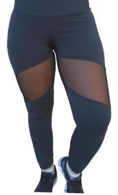 77b2f092141d30 Legging Suplex Plus Size Com Tule Fitness Academia Cós Alto