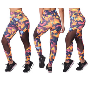 2f5c208cf Kit 5 Calças Legging Tule Tela Moda Fitness Feminina Atacado