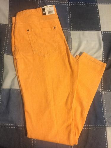 leggings jeans hue mujer naranja algodón mezclilla suaves