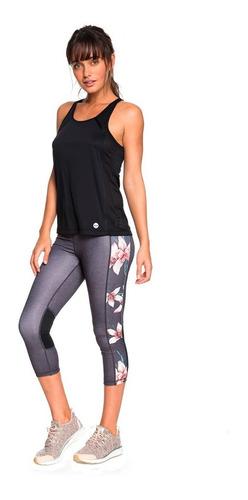 leggins deportivos dama estilo capri laterales flores roxy