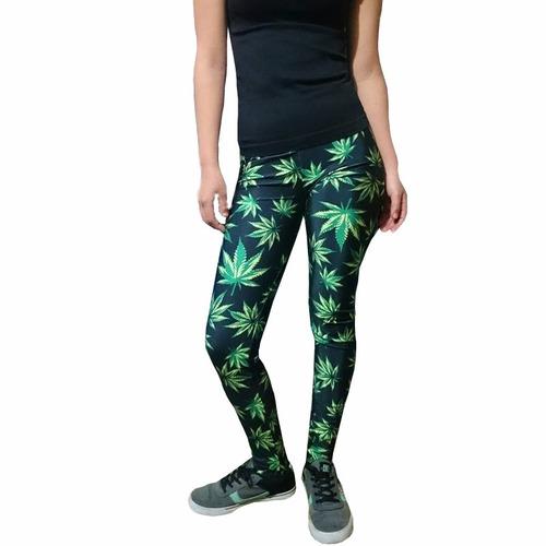 leggins marihuana, hojas verdes