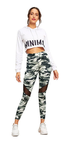 leggins mujer con cintura elástica camuflaje militar de moda