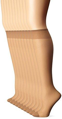 leggs womens 10 pair everyday reinforcement toe knee highs