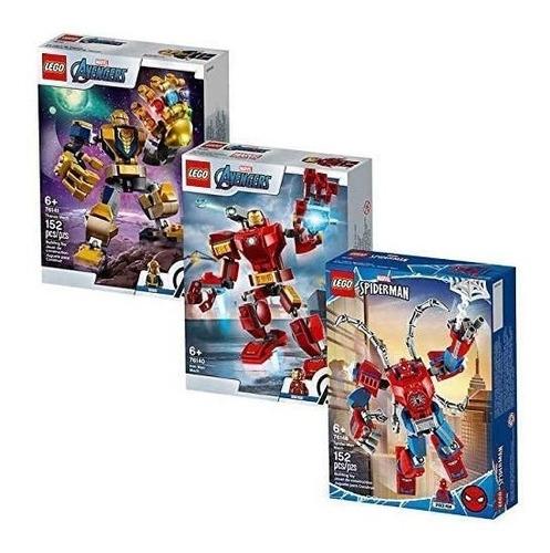 lego 66635 super heroes iron man, thanos y spider-man