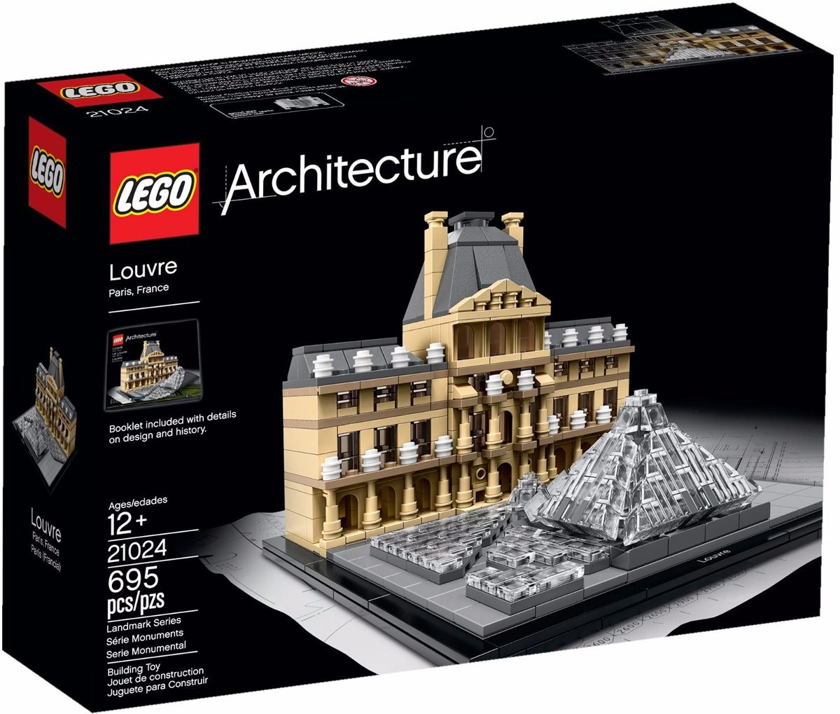 lego architecture 21024 museu do louvre r 439 99 em mercado livre. Black Bedroom Furniture Sets. Home Design Ideas