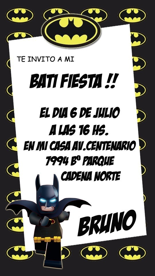 Lego Batman Tarjeta Invitacion Digital Imprimible O Whatsapp