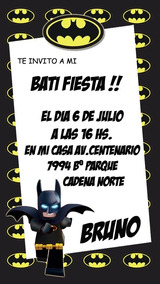 Lego Batman Tarjeta Invitacion Digital Imprimible O Whatsapp