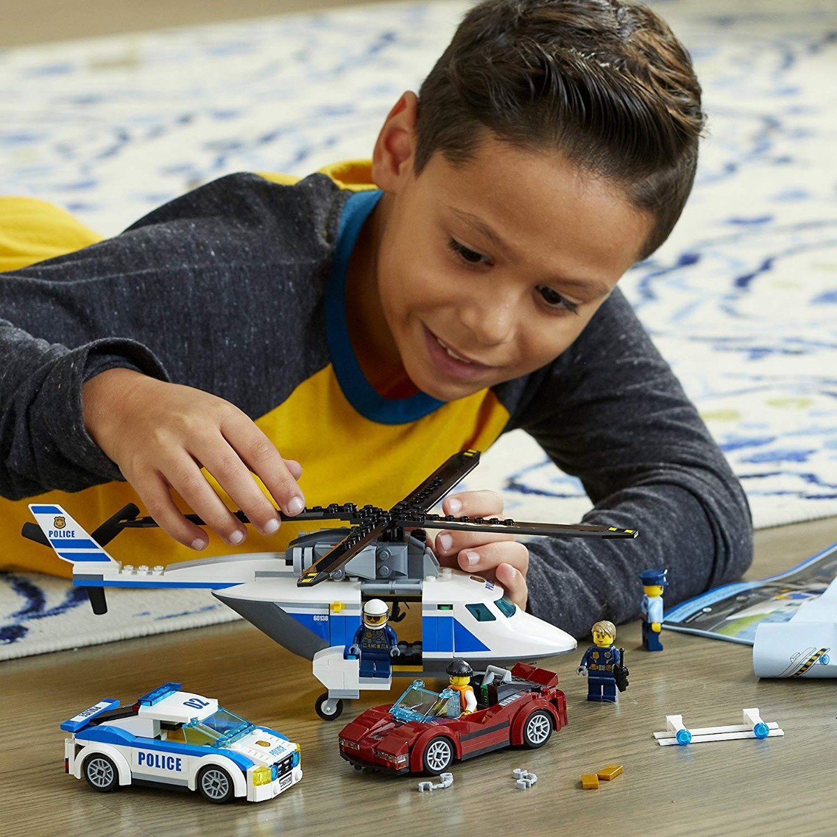 Police Helicopter And Car Lego City 60138 High Speed Chase