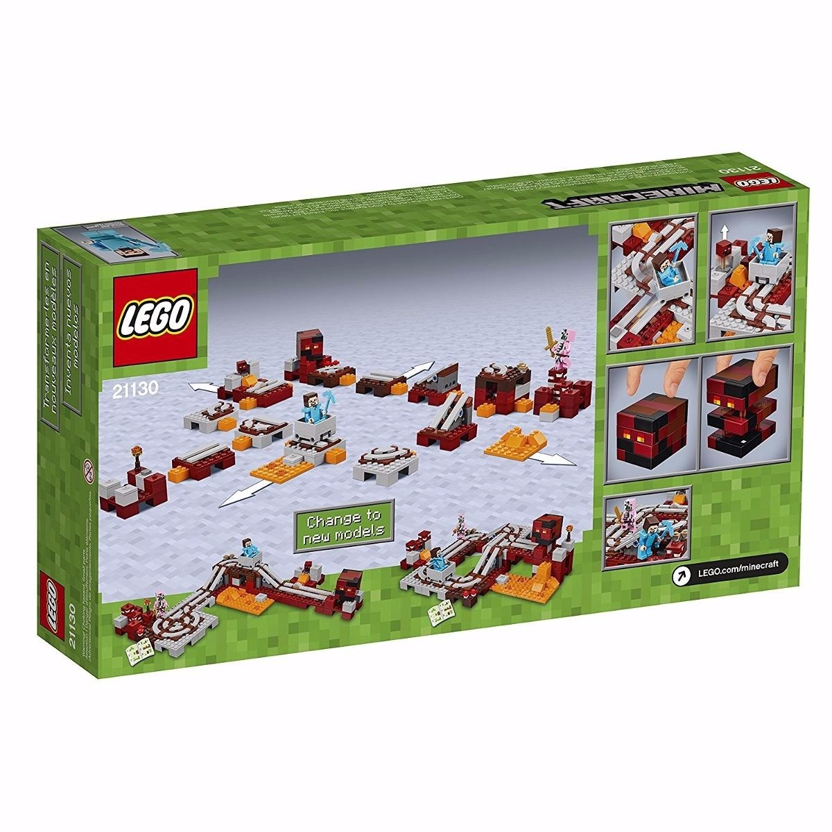 Lego Minecraft - A Ferrovia De Nether - 387 Peças - R  235,00 em ... 2d9903e079