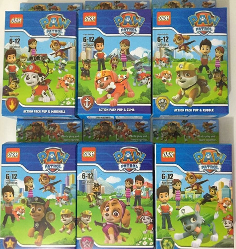lego patrulha canina com 12 bonecos + 6¨distintivo promoção