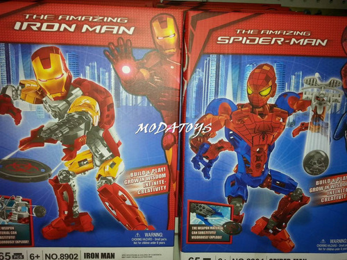 legos super heroes lanza tazos ironman hulk  30cm