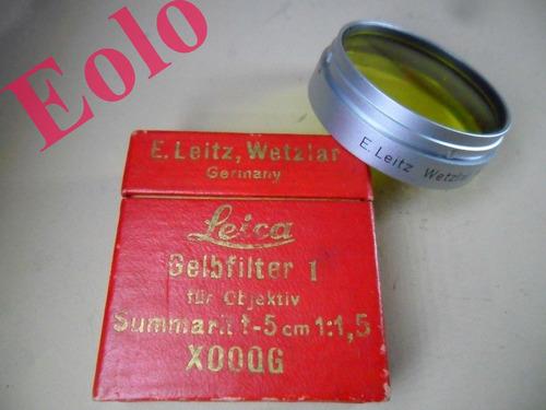 leica leitz - filtro amarelo p/ summarit 50 1,5 - cat. xooog -  muito raro
