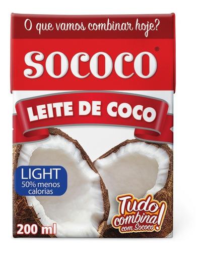 leite de coco light 200ml tp sococo kit com 24 unidades