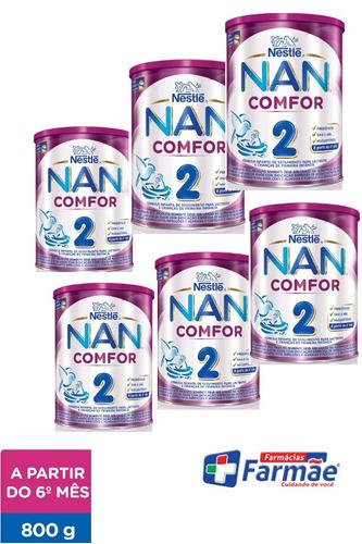 leite nan comfor 2/800g nestle/ combo c/6 latas