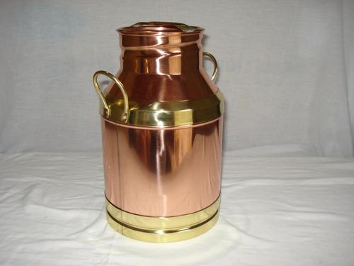 leiteira cobre p  n º 3 detalhe em latão metal arte