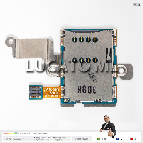 leitor cartão sim somente p/ samsung galaxy note gt-n8000 np