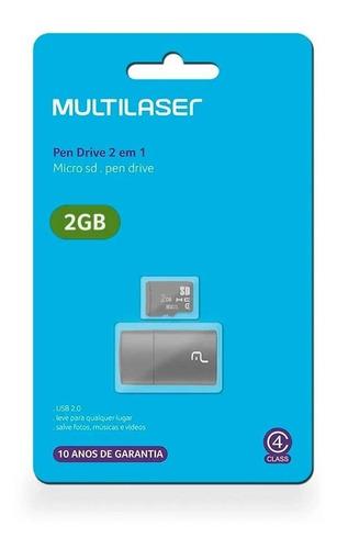 leitor usb e cartão de memória classe 4 2gb multilaser  mc1