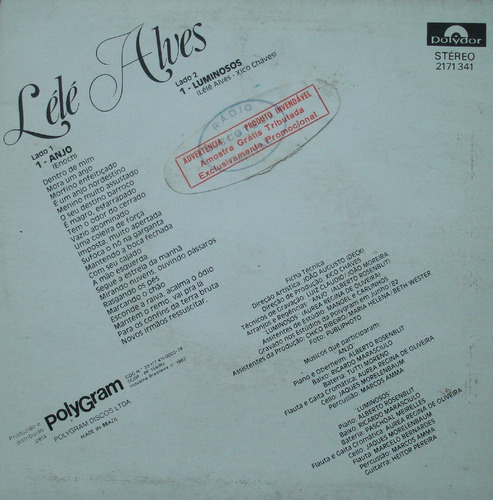 lélé alves anjo - compacto vinil polydor 1982 stereo
