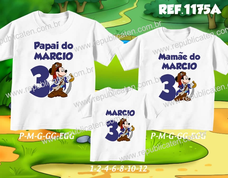 f359f5e934 Kit Camisetas Aniversario Mickey C 3 Uni No Elo7 Mundo