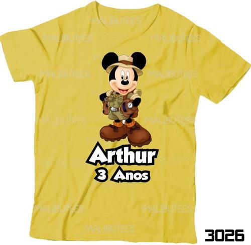 lembrança de aniversário mickey safari camiseta infantil