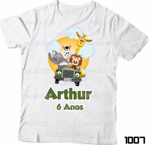 lembrança de aniversario safari selva camiseta infantil 1007