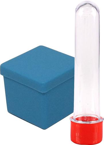 lembrancinha 40 caixinha 4x4 plastica + 40 tubetes 13cm