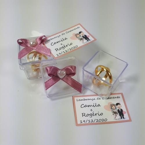 lembrancinha casamento caixinha alianças rosê - com 50