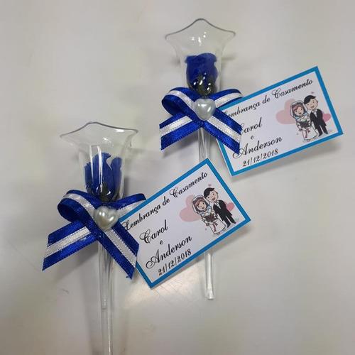 lembrancinha casamento rosinha na tulipa azul royal 100 und