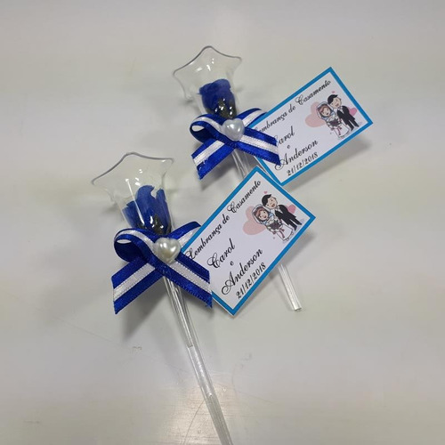 lembrancinha casamento rosinha na tulipa azul royal 50 und
