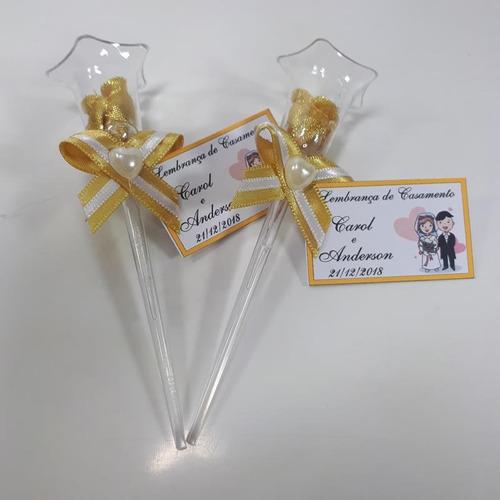 lembrancinha casamento rosinhas na tulipa - dourado 50 und