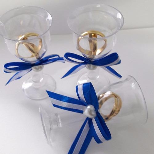 lembrancinha casamento tacinha aliancinhas azul royal 250 un
