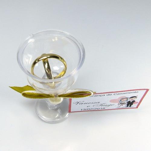 lembrancinha casamento tacinha dourada com aliancinhas 50 un