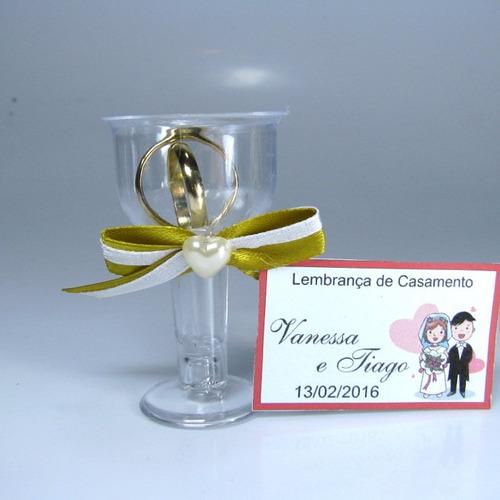 lembrancinha casamento tacinhas alianças dourado c/ 70 unid
