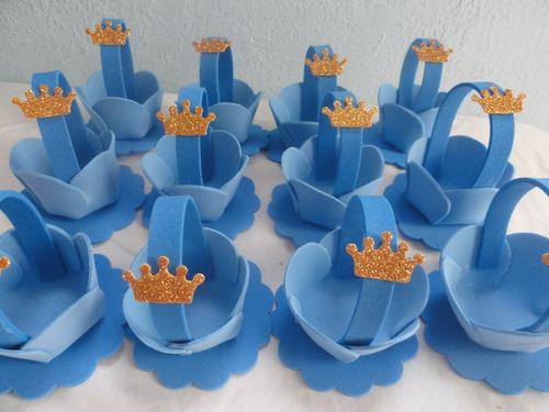 lembrancinha cestinha pequeno principe princesas porta doce