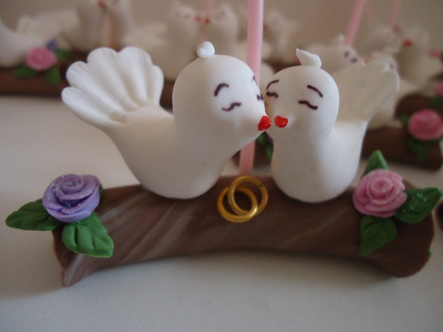 lembrancinha de casamento noivado - casal de pombinhos